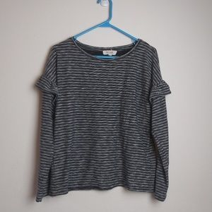 Two by Vince Camuto Striped Top Ruffle Long Sleeve